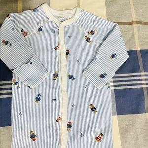 Polo Ralph Lauren- Striped Logo Baby Footie Onesie